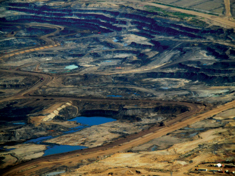 Aerial photograph of tar sands fields in Canada